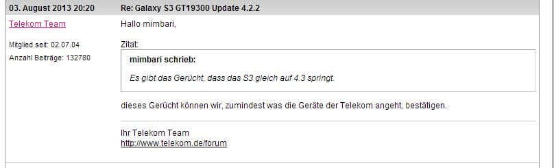 samsung-galaxy-s3-android-4-3-telekom Duitse provider: 'Yep, Samsung Galaxy S3 gaat direct naar Android 4.3'