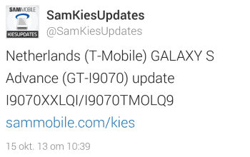 samsung-galaxy-s-advance-t-mobile-update Update brengt Samsung Galaxy S Advance van T-Mobile naar Android 4.1 Jellybean