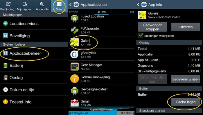 samsung-galaxy-s3-note-2-update-batterij-problemen-wifi-oplossing-app-cache-wissen Android 4.3 update Galaxy S3 en Note 2: batterij snel leeg, WiFi onstabiel, crashende apps, en andere problemen + mogelijke oplossingen