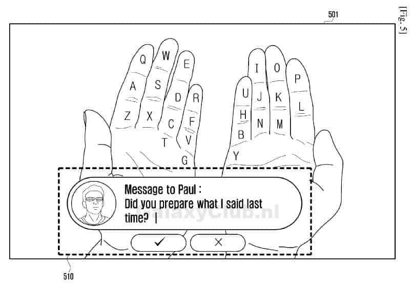 samsung-augmented-reality-hand-keyboard-2 Patentaanvraag Samsung toont interface concept voor 'Gear Glass'