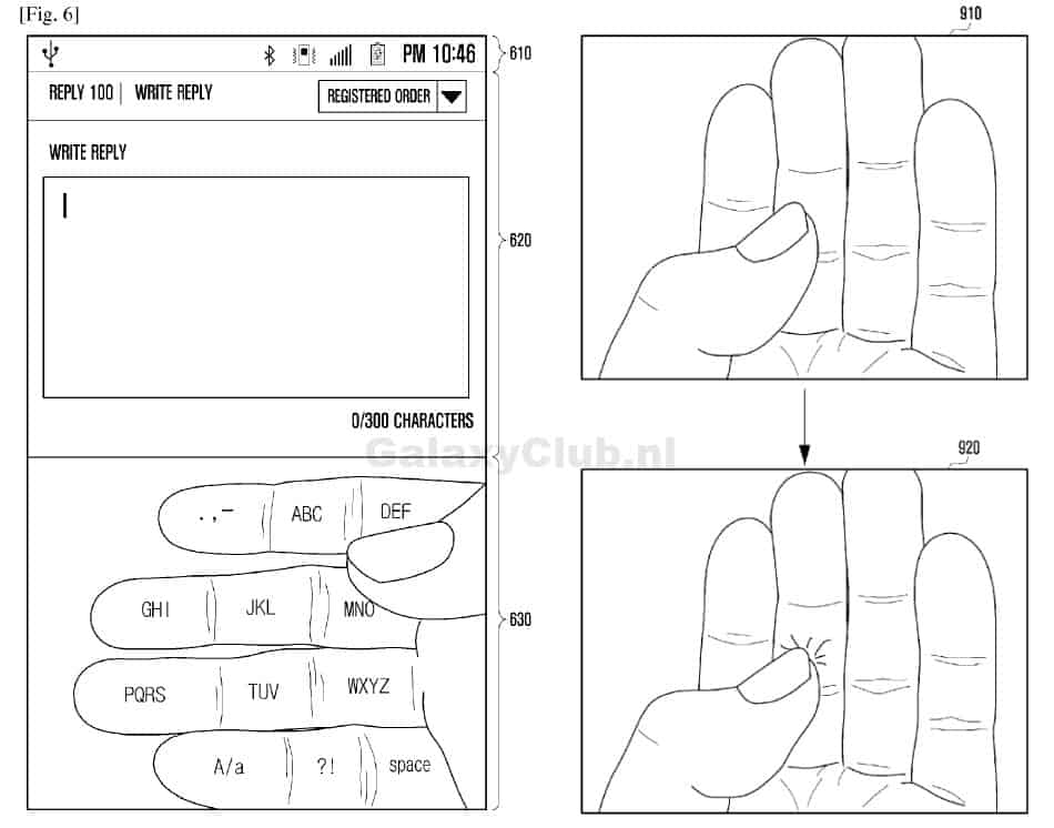 samsung-augmented-reality-hand-keyboard Patentaanvraag Samsung toont interface concept voor 'Gear Glass'