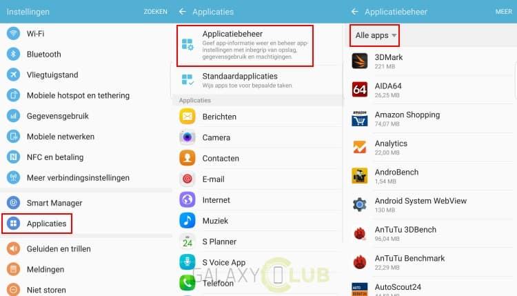 Samsung Galaxy S7 Edge Tip Ongewenste Apps Verwijderen Of
