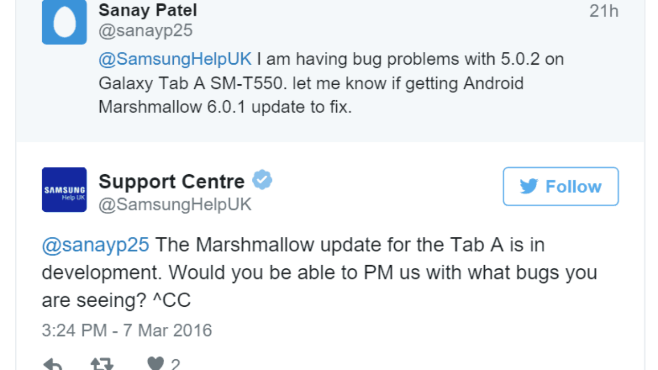 Samsung bevestigt Android Marshmallow update Galaxy Tab A