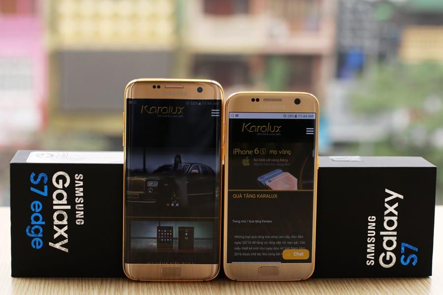 Karalux-S71 En daar is 'ie dan! De 24K gouden Galaxy S7 (Edge)