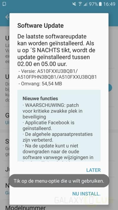 galaxy-a5-2016-update-xxu3bqb1-security-patch-februari Galaxy A5 (2016) krijgt update met februari security patch