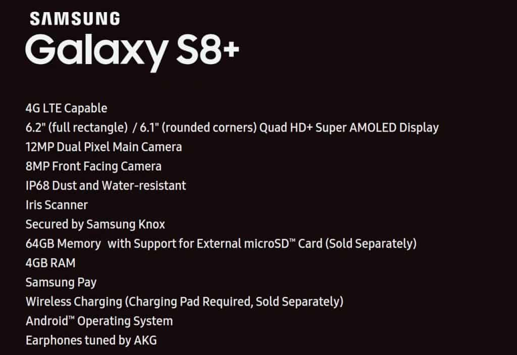 galaxy-s8-plus-specs-1024x704 Lijst met specificaties Galaxy S8 Plus duikt op, evenals lanceerdatum beide S8 modellen
