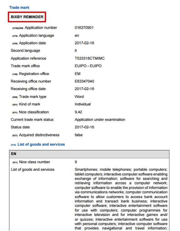 samsung-bixby-reminder-trademark-doc AI-assistent Galaxy S8 (Plus) beheert ook je afspraken: Bixby Reminder