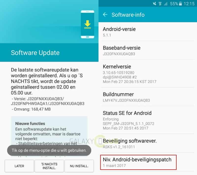 galaxy-j3-2016-update-maart-patch Galaxy J3 (2016) krijgt update met maart beveiligingspatch