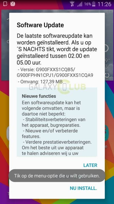 galaxy-s5-update-xxs1cqb5-februari-patch Galaxy S5 krijgt update met security patch van de maand februari