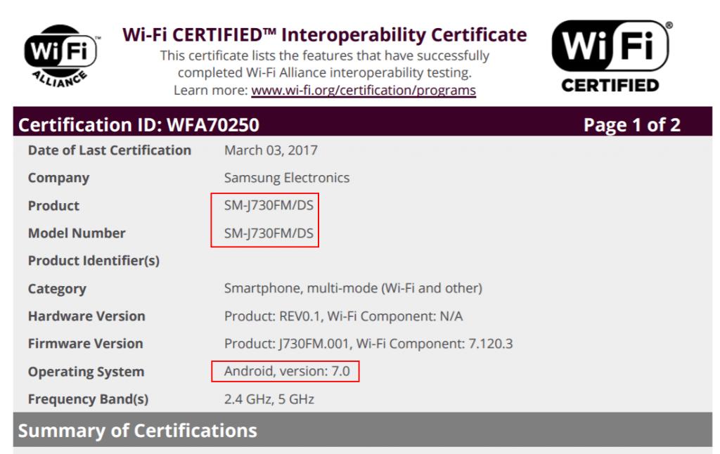 samsung-galaxy-j7-sm-j730-wifi-1024x646 Samsung Galaxy J7 (2017) duikt op met modelcode SM-J730, draait op Android 7.0