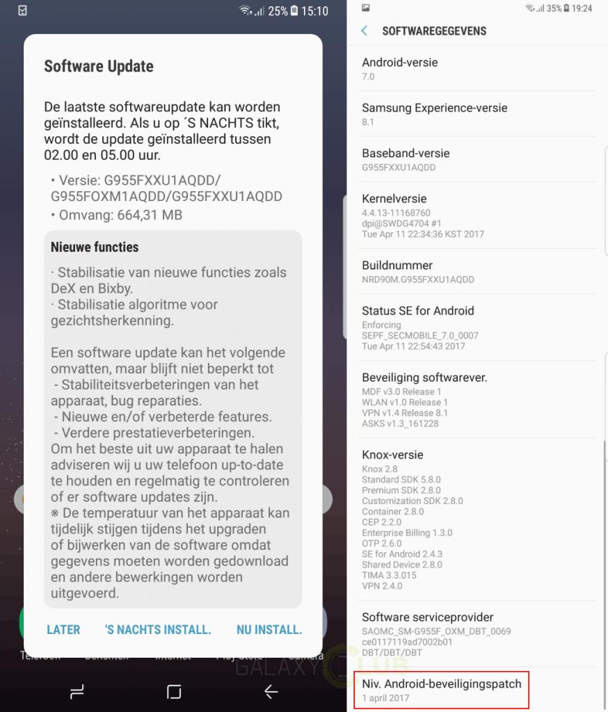 galaxay-s8-plus-update-xxu1aqdd-874x1024 Eerste firmwareupdate Galaxy S8 (Plus) verbetert gezichtsherkenning en kleurcalibratie, brengt april patch (update: ook in NL)