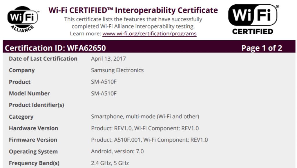 galaxy-a5-2016-nougat-wifi-cert-1024x579 Galaxy A3 (2016) met Android 7.0 Nougat krijgt certificatie (update: A5, A7 nu ook)
