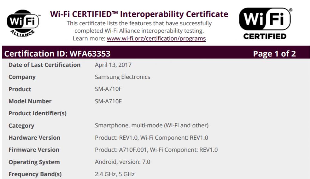 galaxy-a7-2016-nougat-wifi-cert-1024x593 Galaxy A3 (2016) met Android 7.0 Nougat krijgt certificatie (update: A5, A7 nu ook)