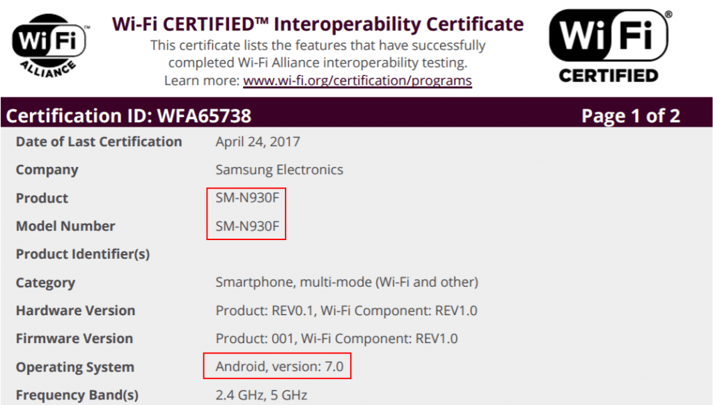 galaxy-note-7-sm-n930-android-nougat-cert-1024x582 Refurbished Galaxy Note 7 en origineel model krijgen Wi-Fi certificatie met Android 7.0