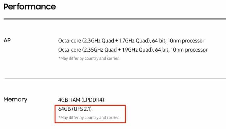 Samsung-Galaxy-S8-UFS-2.1-Storage-Spec-List-720x410 Samsung past officiële specs van de S8 aan en haalt snellere UFS 2.1 geheugen van de lijst