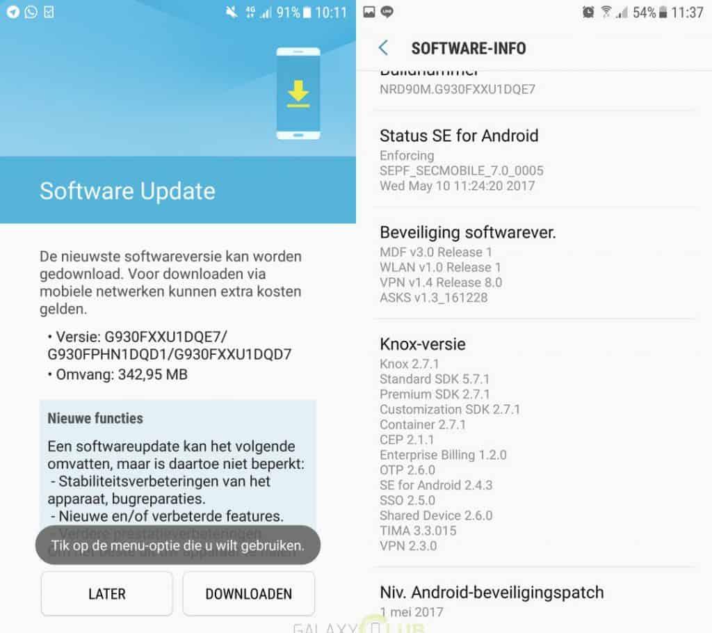 galaxy-s7-update-g930fxxu1dqe7-mei-patch-1024x910 Samsung Galaxy S7 krijgt update met nieuwe beveiligingspatch van mei - update 19-5: S7 Edge ook