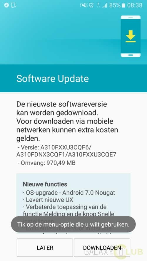 galaxy a3 2016 android 7.0 nougat update nederland