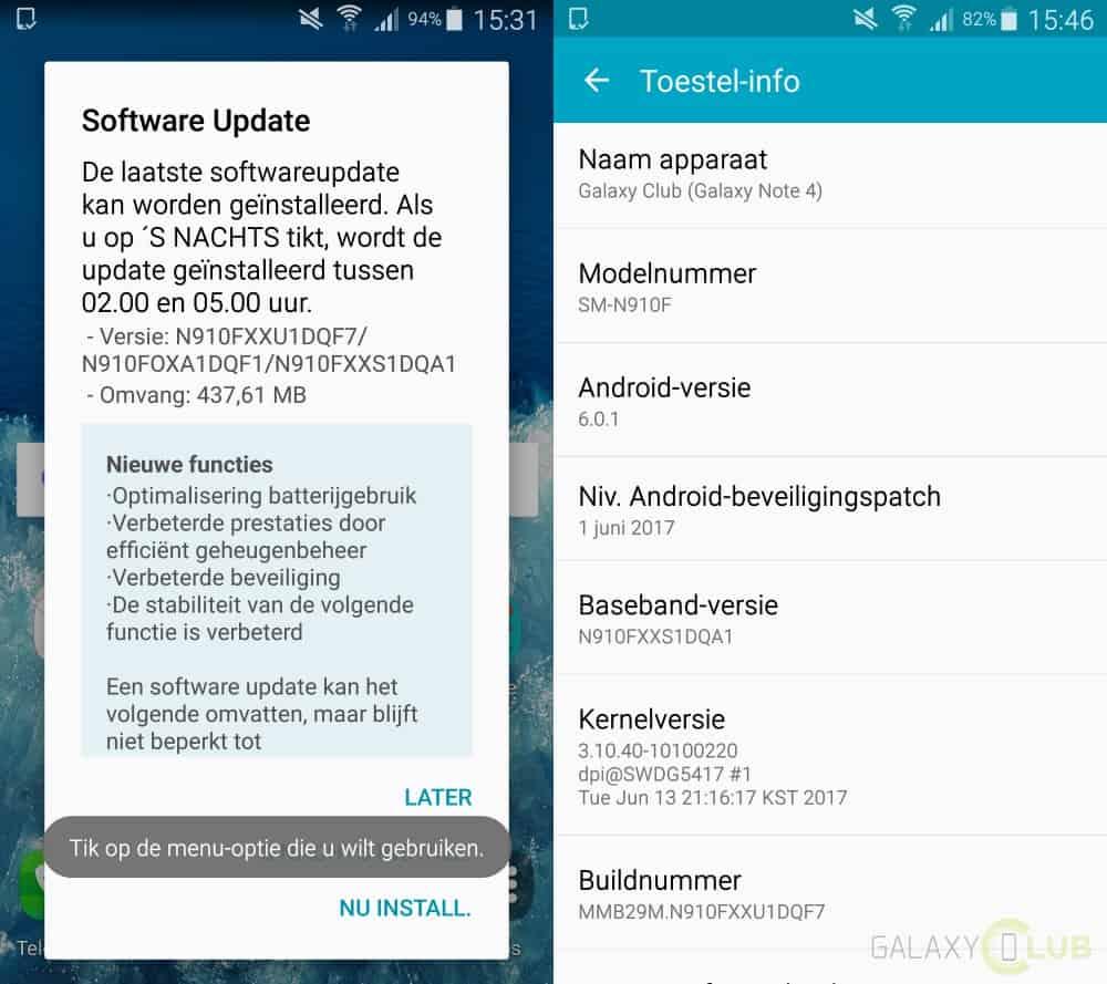 galaxy-note-4-update-xxu1dqf7 Galaxy Note 4 krijgt grote update zonder nieuwe beveiligingspatch