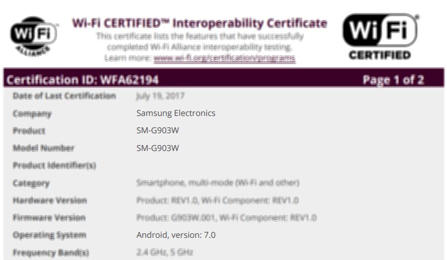 Wi-Fi certificatie bevestigd Galaxy S5 Neo Nougat update