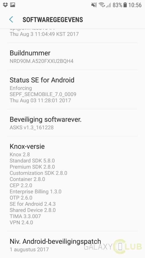galaxy-a5-2017-android-7-0-preview-7 Galaxy A5 (2017) Android 7.0 Nougat update van start (preview, nog niet in NL)