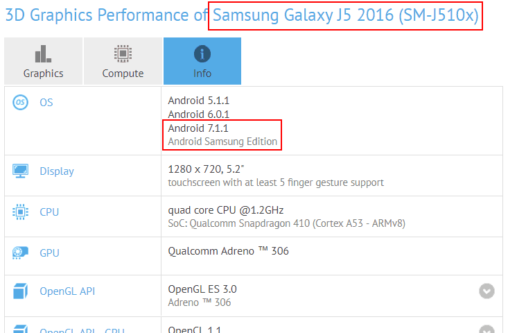 galaxy-j5-2016-android-7-1-1-gfxbench Galaxy J5 (2016) duikt op met Android.... 7.1.1?
