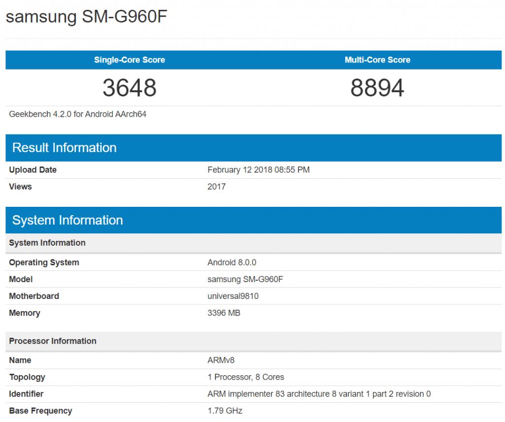 galaxy-s9-sm-g960f-geekbench-scores-1024x857 Verschillende Galaxy S9 versies, verschillende prestaties: grote kloof
