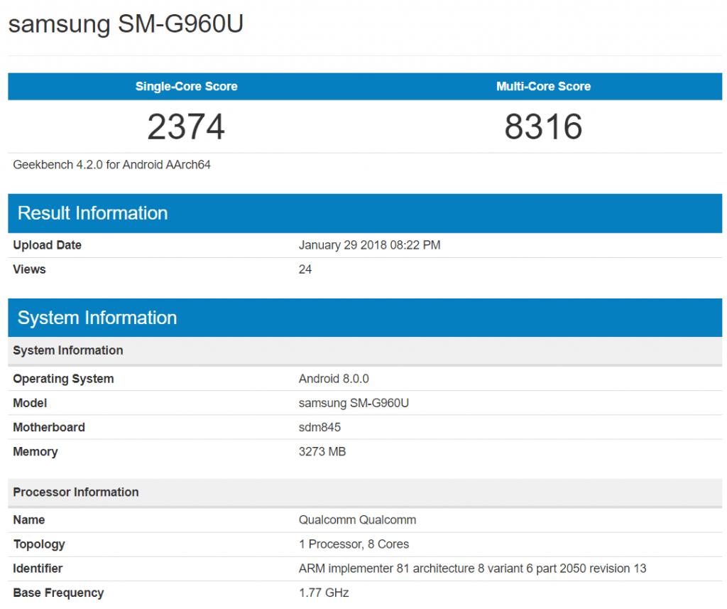 galaxy-s9-sm-g960u-geekbench-scores-1024x857 Verschillende Galaxy S9 versies, verschillende prestaties: grote kloof