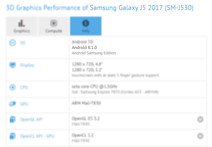 galaxy j5 2017 android 8.1 gfxbench