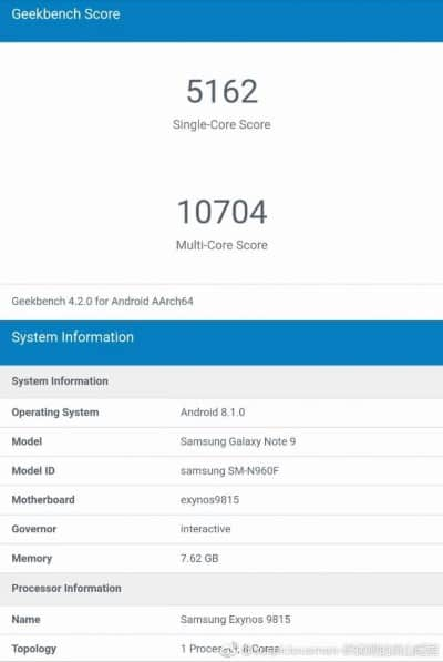 galaxy note 9 sm-n960f geekbench fake