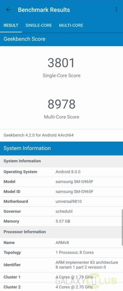 galaxy s9 plus specs geekbench
