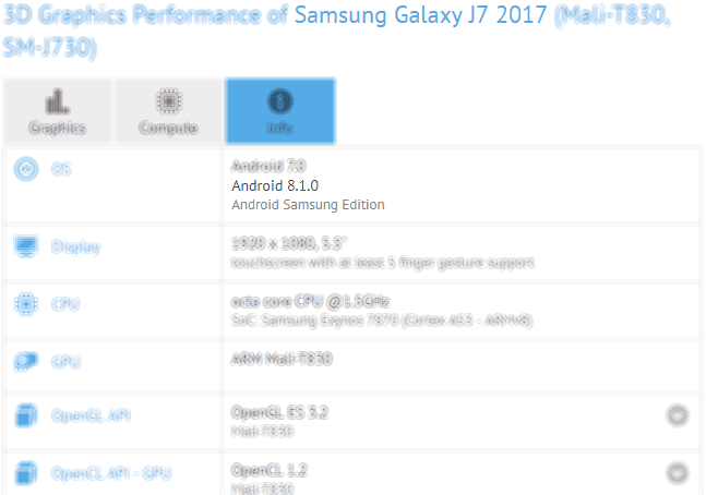 samsung galaxy j7 2017 android 8.1 gfxbench