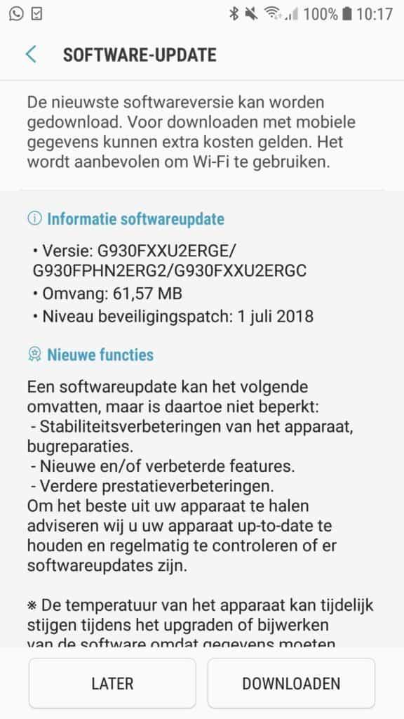 galaxy s7 update geen nieuwe patch