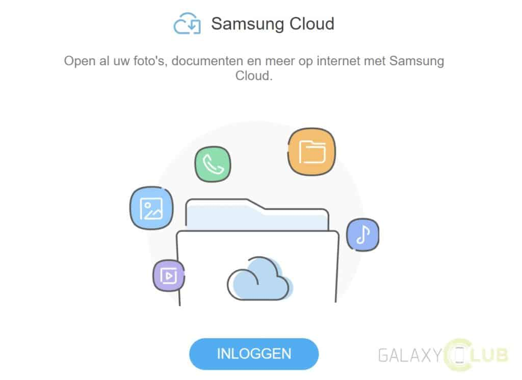 samsung cloud beheren via browser en pc