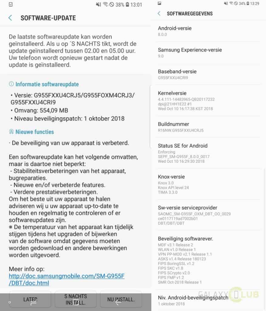 samsung galaxy s8 update oktober 2018 g955fxxu4crj5 changelog