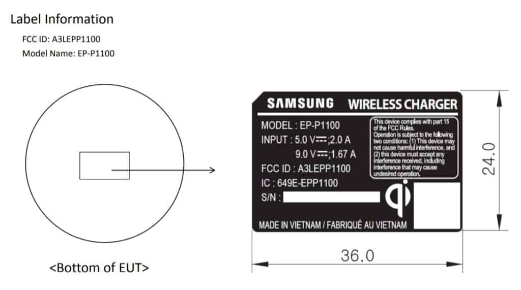 samsung mid range wiresless charger ep-p1100 fcc
