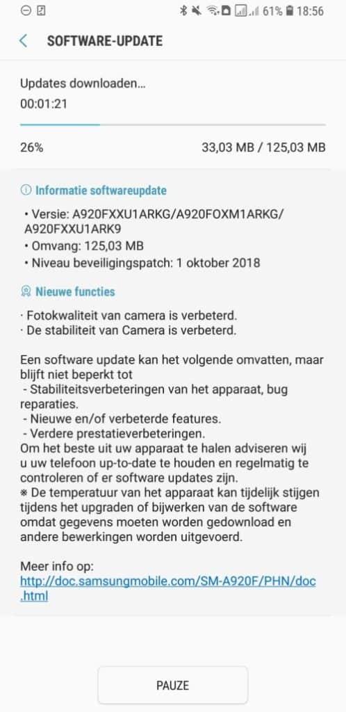 samsung galaxy a9 update camera oktober november changelog a920fxxu1arkg