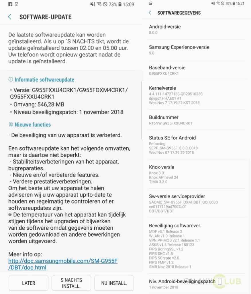 samsung galaxy s8 update november 2018 changelist g955fxxu4crk1