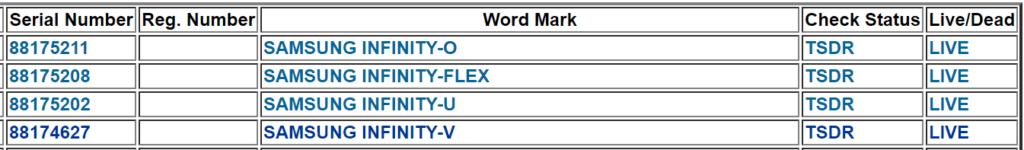 samsung infinity-flex trademark uspto