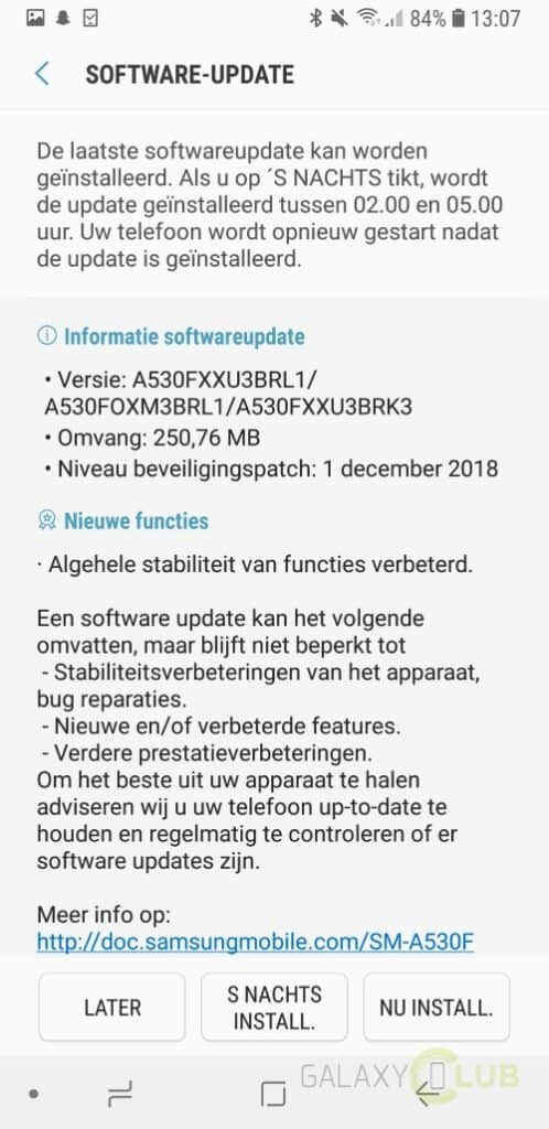 samsung galaxy a8 update december 2018 changelist a530fxxu3brl1