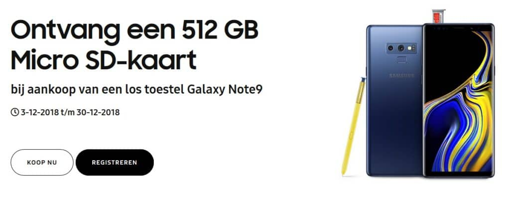 samsung galaxy note 9 gratis 512gb sd kaart