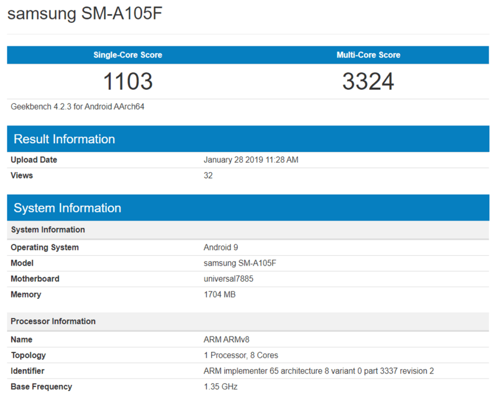 samsung galaxy a10 specificaties sm-a105f geekbench
