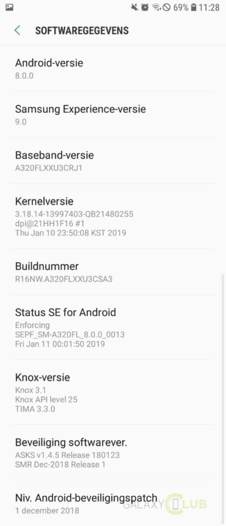 galaxy a3 2017 update december 2018 software info