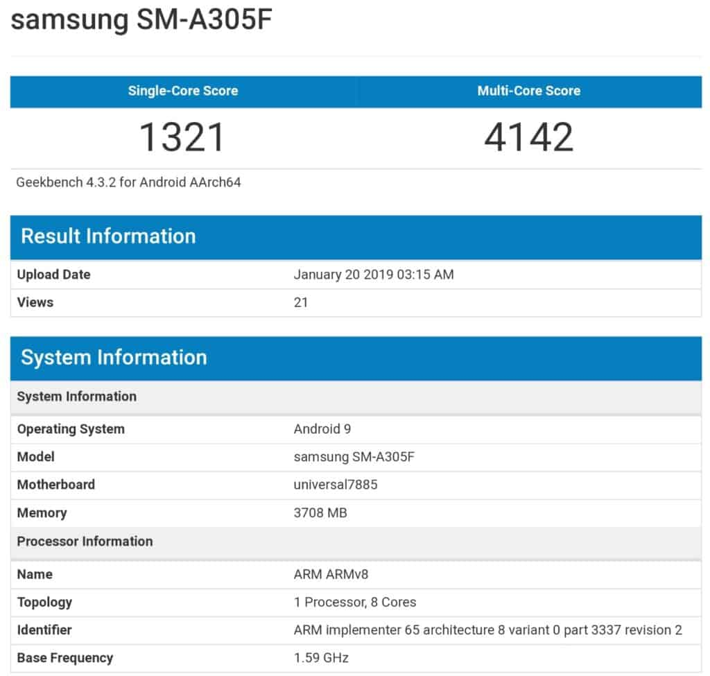samsung galaxy a30 specificaties sm-a305f