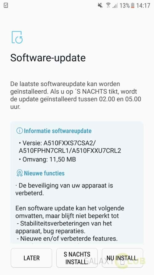 galaxy a5 2016 update januari 2019