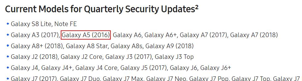 galaxy a5 2016 updates per kwartaal lijst
