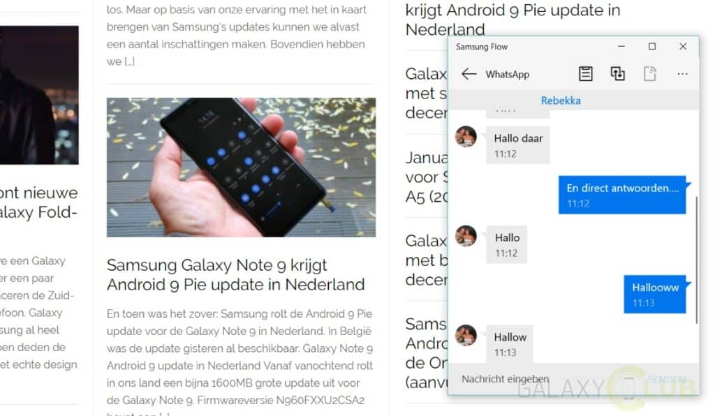 samsung galaxy whatsapp op je pc