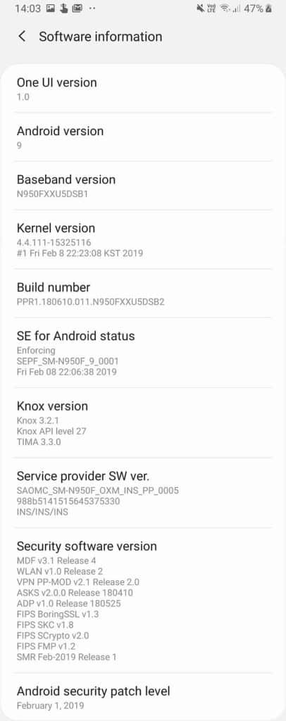 galaxy note 8 android 9 upgrade software info