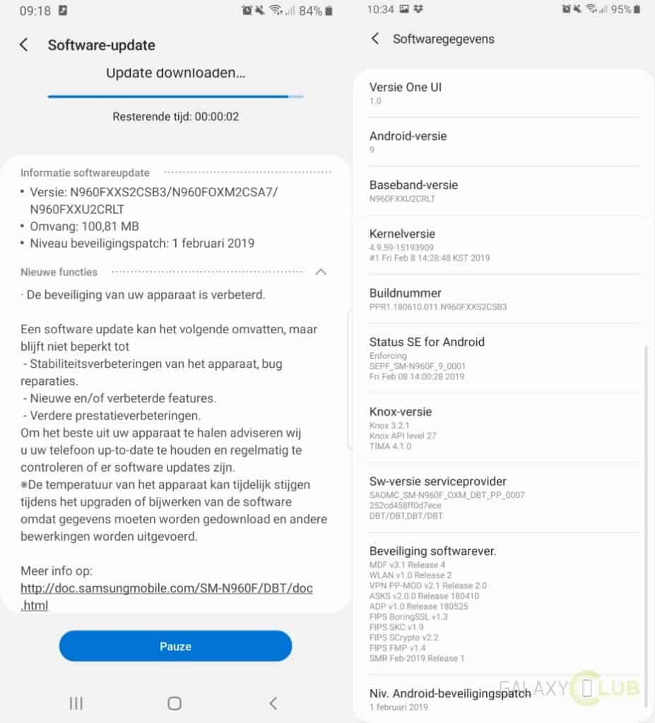 samsung galaxy note 9 update februari 2019 changelist n960fxxs2csb3