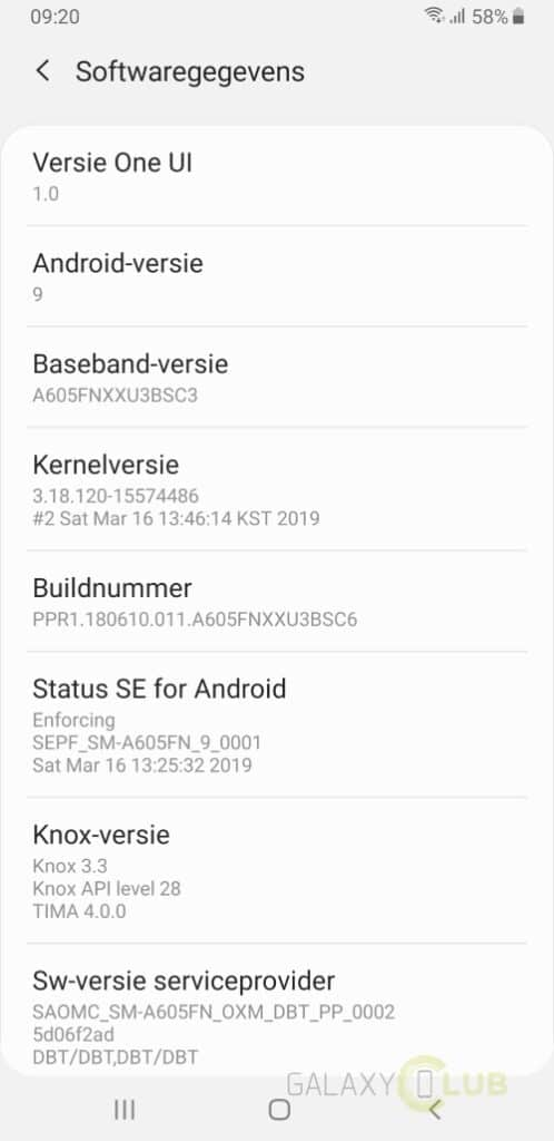 galaxy a6 plus android 9 software info