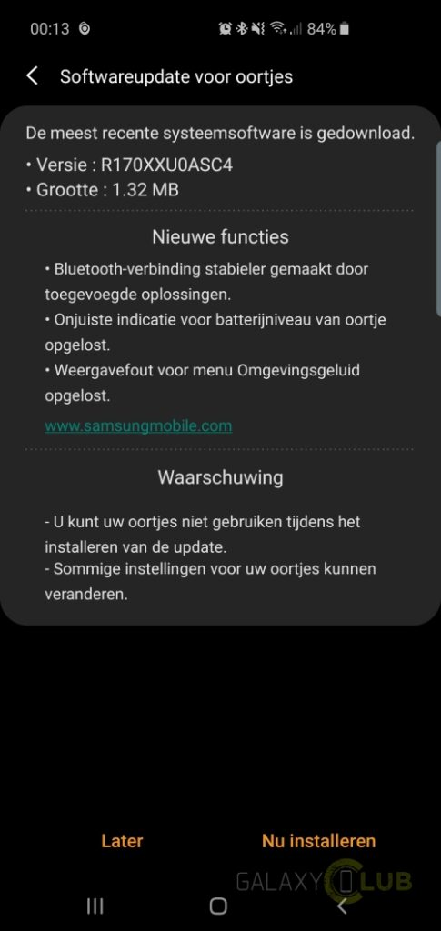 samsung galaxy buds update bug-fix batterij percentage r170xxu0asc4